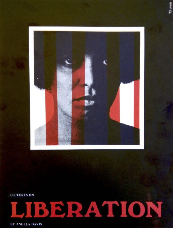 Cover of Angela Davis, Lectures on Liberation. Image features a young Davis with red and white stripes vertically superimposed