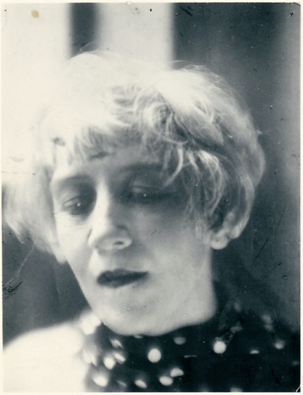 Photograph of Helen Hessel with eyes closed